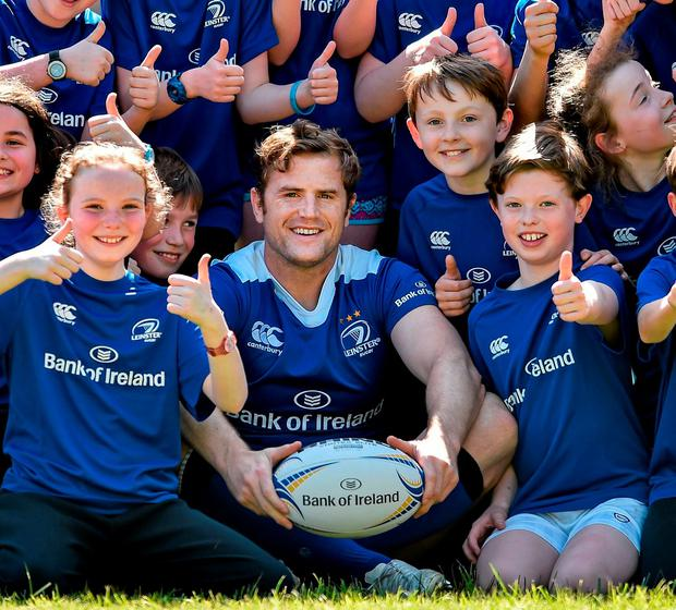 The Bank of Ireland Leinster Rugby Camps were launched by Leinster Rugby stars Jamie Heaslip, Jack McGrath and Hayden Triggs Photo: Sportsfile