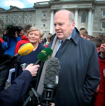 Acting Finance Minister Michael Noonan and acting Justice Minister Frances Fitzgerald before talks with Fianna Fáil on the formation of a government at Trinity College Dublin. Photo: Tom Burke