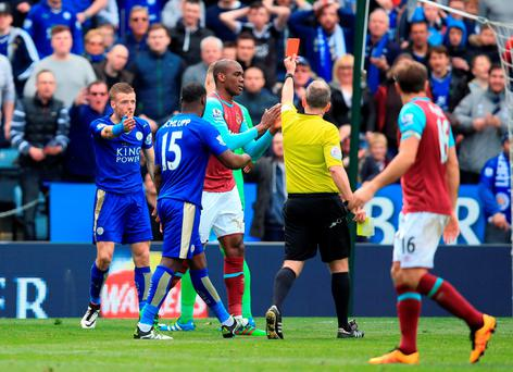Leicester City's Jamie Vardy reacts after being booked with second yellow card and sent off during the match against West Ham on Sunday. Photo: Mike Egerton/PA