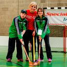 Pictured with Anna Geary are Connacht Special Olympic athletes Aine Naughton, left, and Ann Brennan at Kilternan Ski Slope & Loughlinstown Activity Centre in Dublin. Photo: Sportsfile
