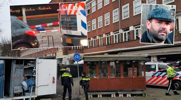 The scene at the Fayrouz Lounge in Amsterdam where the victim's severed head was found in a bucket