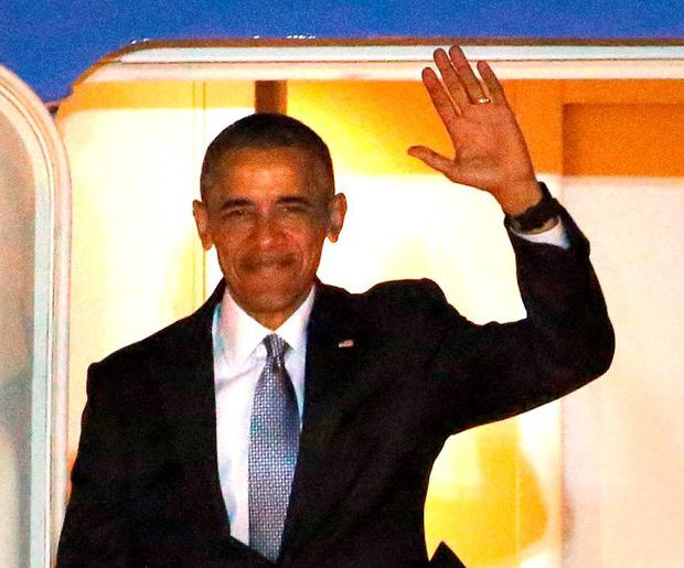 US President Barack Obama arrives at Stansted airport for a visit to the UK Credit: Chris Radburn/PA Wire