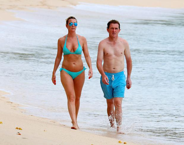 Former Irish jockey Tony McCoy and wife Chanelle spotted on holiday in Barbados. Picture: Shanice King/246paps/Splash News