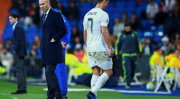 Cristiano Ronaldo of Real Madrid leaves the pitch against Villarreal