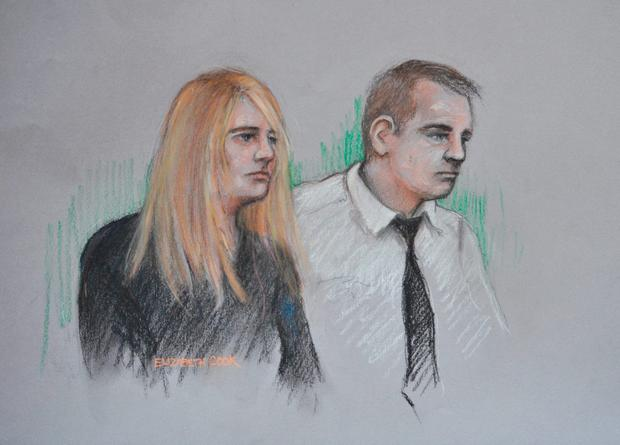 Court artist sketch by Elizabeth Cook of Jennie Gray and Ben Butler in the dock at the Old Bailey in London, where Butler is on trial for murdering their six year old daughter Ellie while both parents are accused of child cruelty. Elizabeth Cook/PA Wire