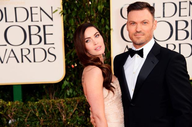 Actress Megan Fox (L) and actor Brian Austin Green arrive at the 70th Annual Golden Globe Awards held at The Beverly Hilton Hotel on January 13, 2013 in Beverly Hills, California. (Photo by Jason Merritt/Getty Images)
