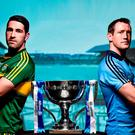 Kerry's Bryan Sheehan and Denis Bastick of Dublin are both looking to get their hands on the Allianz NFL Division 1 trophy at Croke Park tomorrow. Photo: Brendan Moran / Sportsfile