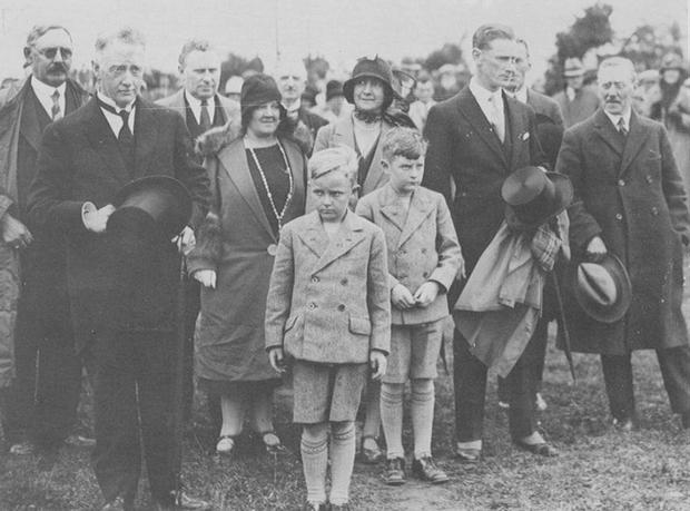 A young Liam Cosgrave (on right) with his brother Michael and his parents, WT Cosgrave and his wife Louisa, at the official opening of Ardnacrusha power station on July 22, 1929