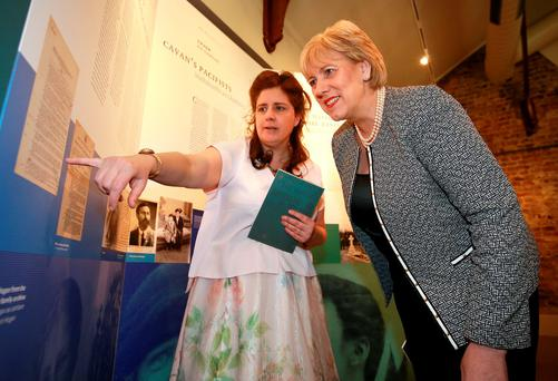 Sinead McCoole and Heather Humphreys at the launch of the Mná 1916 exhibition. Photo: Frank Mc Grath