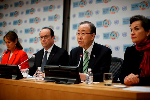 French President Francois Hollande (2nd from L) listens as he holds a press conference with United Nations Secretary-General Ban Ki-moon. Photo: Reuters