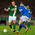 Cork City's Karl Sheppard in action against Finn Harps' Ryan Curran Photo: Eóin Noonan / SPORTSFILE