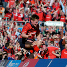 Ten years ago today: Ronan O'Gara jumps the advertising board as Munster clear a major hurdle in their quest for their European Holy Grail by defeating Leinster in the semi-final Photo: Brendan Moran / SPORTSFILE