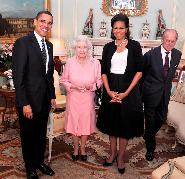 April 2009: US President Barack Obama and his wife Michelle Obama pose for photographs with Queen Elizabeth II and Prince Philip, Duke of Edinburgh during an audience at Buckingham Palace.