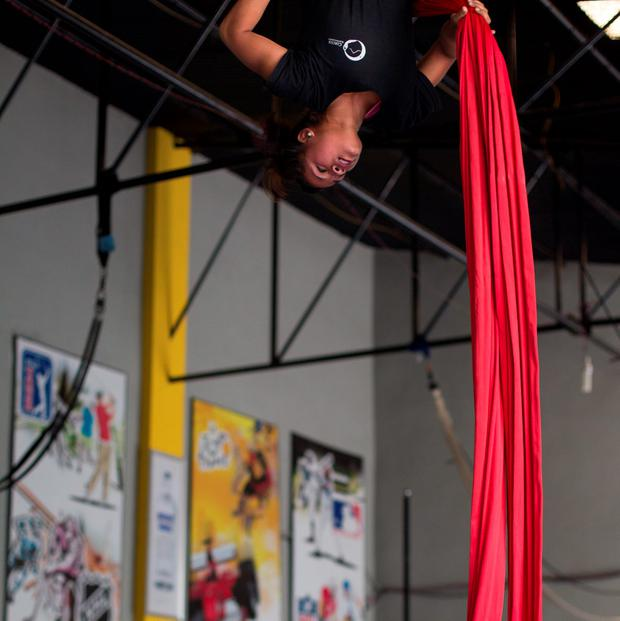 A performer in Circus Kathmandu goes through a training routine. Photo: Mark Condren