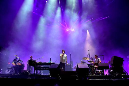 (L-R) Musicians Al Doyle, Nancy Whang, Tim Goldsworthy, James Murphy and Pat Mahoney of LCD Soundsystem perform onstage during day 1 of the 2016 Coachella Valley Music & Arts Festival Weekend 2 at the Empire Polo Club on April 22, 2016 in Indio, California. (Photo by Kevin Winter/Getty Images for Coachella)