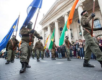 The marchers outside the GPO