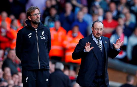 Liverpool manager Juergen Klopp and Newcastle manager Rafael Benitez Action Images via Reuters / Lee Smith