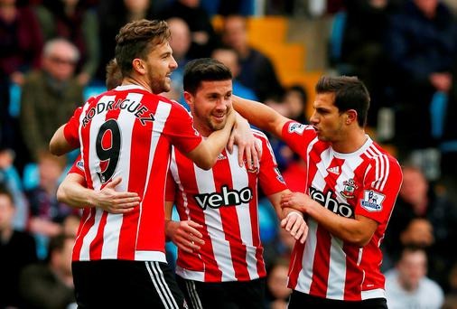 Southampton's Shane Long celebrates scoring their first goal Action Images via Reuters / Jason Cairnduff