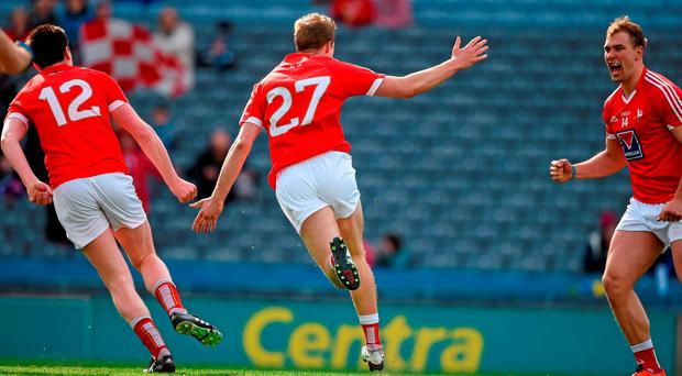 Jim McEneaney, wearing 27 after a blood injury, celebrates scoring Louth's second goal in the 59th minute. Allianz Football League, Division 4, Final, Louth v Antrim. Croke Park, Dublin. Picture credit: Ray McManus / SPORTSFILE