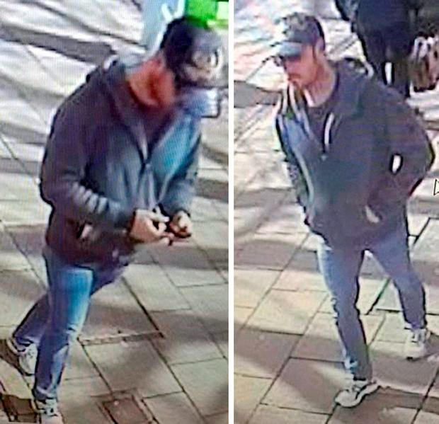 CCTV images of a man they would like to speak to in connection to a suspected hammer attack on a teenage girl at a property possibly linked to the sex trade Credit: Hampshire Police/PA Wire