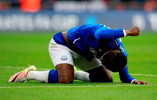 Everton's Romelu Lukaku reacts during the Emirates FA Cup, Semi-Final match at Wembley
