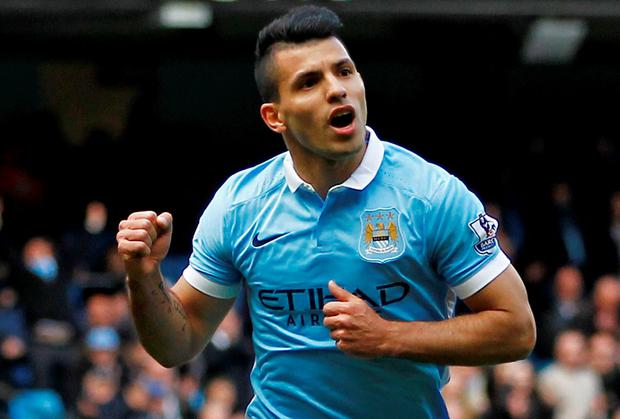Sergio Aguero celebrates after scoring the second goal for Manchester City from the penalty spot. Photo: Craig Brough/Reuters