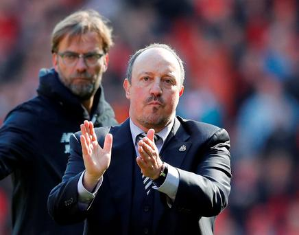 Newcastle manager Rafael Benitez applauds fans as Liverpool manager Juergen Klopp looks on after the game. Photo: Phil Noble/Reuters