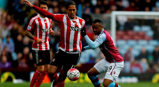 Southampton's Virgil van Dijk and Aston Villa's Jordan Ayew during the Barclays Premier League match at Villa Park. Photo: Paul Harding/PA