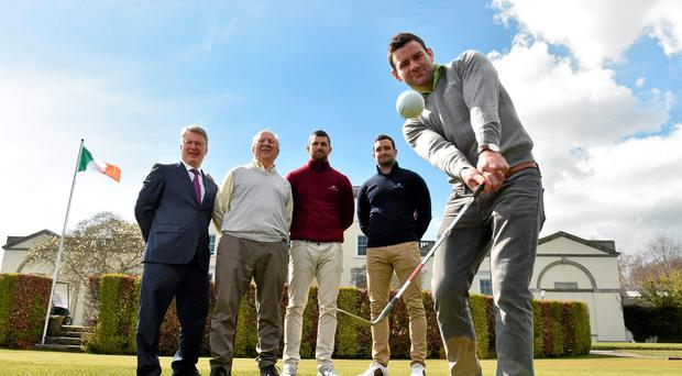 Fergus McFadden is pictured with Edward Stephenson, CEO Druids Glen Resort, Jonathan Irwin, founder and CEO of the Jack & Jill foundation, Rob Kearney and Dave Kearney at Druids Glen Photo: Matt Browne / SPORTSFILE