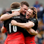 Saracens players Owen Farrell, Alex Goode and Duncan Taylor of Saracens celebrate at the final whistle Photo: Reuters / Henry Browne