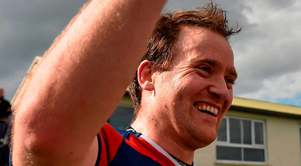 Clontarf's Evan Ryan, who scored the game's last try, celebrates after the match Photo: Cody Glenn / SPORTSFILE