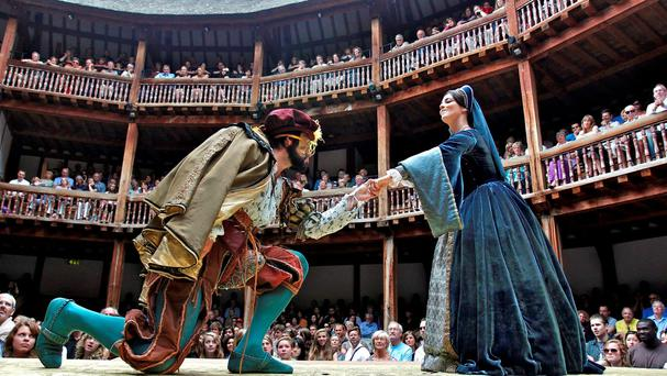 ALL THE WORLD'S A STAGE: Actors Dominic Rowan and Miranda Raison perform as Henry VIII and Anne Boleyn in Shakespeare's 'Henry VIII' at Shakespeare's Globe in London. Photo: Reuters
