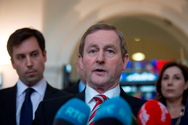 HANGING BY A THREAD: Enda Kenny at Government Buildings with TDs Eoghan Murphy and Josepha Madigan. The Fine Gael leader needs to change the way he conducts his business if he wants to stay on as Taoiseach — and remain in the post for a decent amount of time. Photo: Arthur Carron