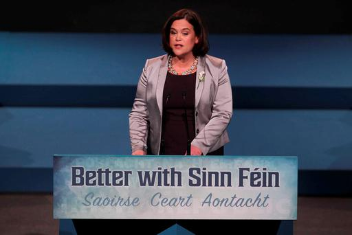 CONFERENCE: Deputy Leader Mary Lou McDonald speaking at the Sinn Fein Ard Fheis. Photo: RollingNews.ie