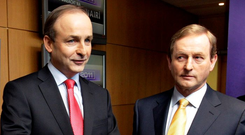 Micheál Martin and Enda Kenny. Photo: Steve Humphreys
