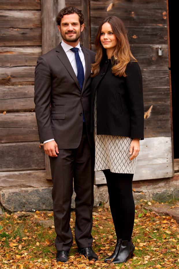 Prince Carl Philip of Sweden and Princess Sofia of Sweden visit the old stone porphyry during the second day of their trip to Dalarna on October 6, 2015 in Alvdalen, Sweden. (Photo by Ragnar Singsaas/Getty Images)