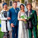 Handout photo issued by LD PR of James Jagger and his wife Anoushka Sharma (centre) with Jerry Hall (left) and Mick Jagger (right) at their wedding celebration at Cornwell Manor, Chipping Norton, Oxfordshire
