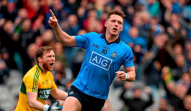 24 April 2016; Paul Flynn, Dublin, celebrates after scoring his side's first goal. Allianz Football League Division 1 Final, Dublin v Kerry. Croke Park, Dublin. Picture credit: Brendan Moran / SPORTSFILE