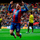 LONDON, ENGLAND - APRIL 24: Connor Wickham of Crystal Palace (21) celebrates as he scores their second goal with a header during The Emirates FA Cup semi final match between Watford and Crystal Palace at Wembley Stadium on April 24, 2016 in London, England. (Photo by Ian Walton/Getty Images)