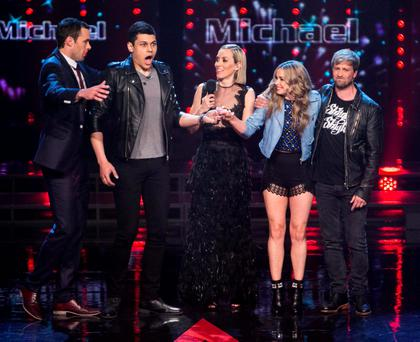 The moment Michael Lawson (second from left) won The Voice of Ireland pictured with his coach Bressie and Kathryn Thomas Kian Egan and Kelesa Mulcahy .