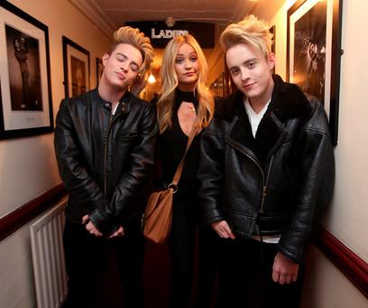 Laura Whitmore and Jedward pictured before the Rock against Homelessness concert at the Olympia Theatre Credit: Damien Eagers