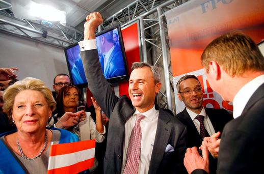 Presidential candidate Norbert Hofer reacts at the party headquarter of the Austrian Freedom party (FPOe) in Vienna, Austria REUTERS/Heinz-Peter Bader