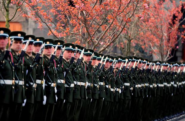 Soldiers in formation. Photo: Niall Carson/PA Wire