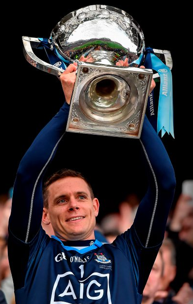 Dublin captain Stephen Cluxton lifts the cup after the Allianz Football League Division 1 Final win over Kerry in Croke Park Photo: Brendan Moran / SPORTSFILE