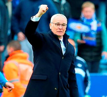 Leicester City manager Claudio Ranieri waves to the fans after the final whistle. Photo: Martin Rickett/PA Wire.