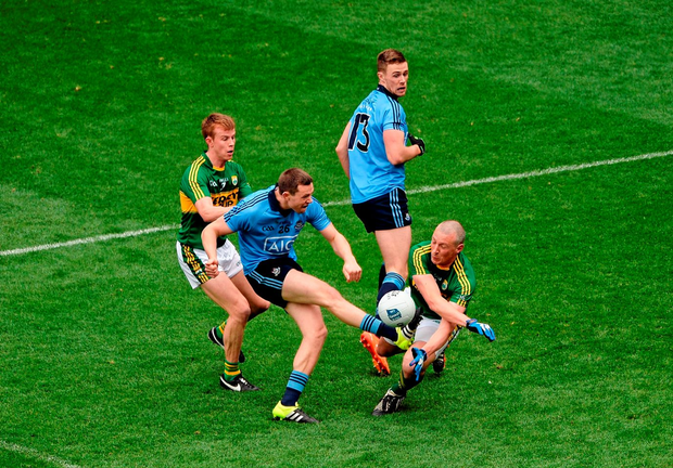 Kieran Donaghy blocks a shot from Dean Rock during Dublin's Allianz NFL Division One final victory against Kerry Photo: Sportsfile