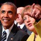 US President Barack Obama and German Chancellor Angela Merkel attend the opening ceremony of the Hannover Messe in Germany. Photo: Nigel Treblin