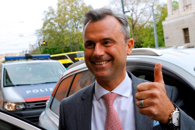 Pleased: Presidential candidate Norbert Hofer. Photo: Reuters