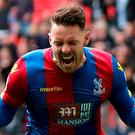 Crystal Palace's Connor Wickham celebrates scoring their second goal. Photo: Eddie Keogh/ Reuters