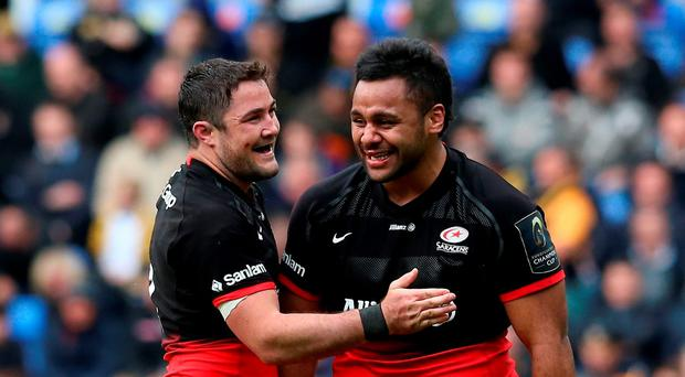 Billy Vunipola of Saracens celebrates with team mate Brad Barritt (L) after their victory Photo: Getty